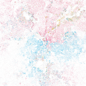 Racial segregation in Atlanta - 2000 map of race and ethnicity in Atlanta; whites still live largely in the north side of the metro area; blacks in the south