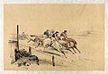 Race horses and jockeys leading a race. Coloured lithograph Wellcome V0023272.jpg
