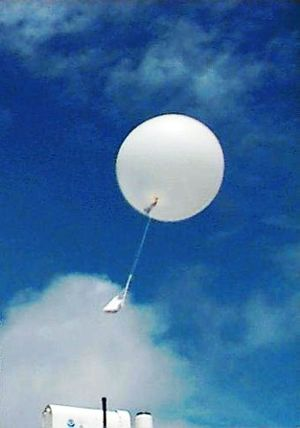 Tuvalu Meteorological Service - A radiosonde shortly after launch.