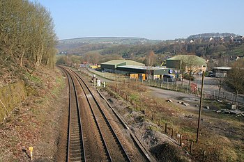 English: Railway, Luddendenfoot Looking north-...