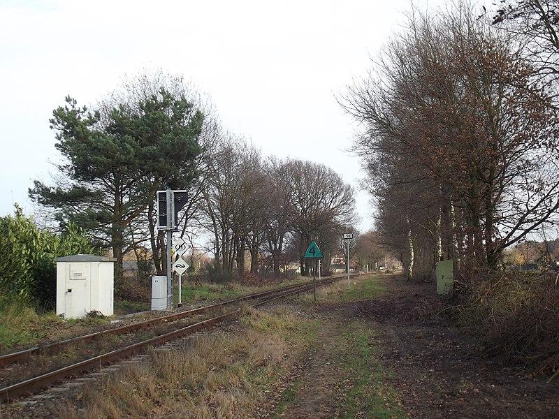 Spoorweg grensovergang gezien vanuit België.