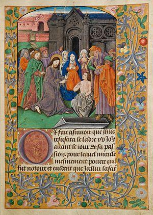 Vaux Passional - Image: Raising of Lazarus (f. 11r)