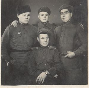 Starshina - Group of Soviet soldiers, in the foreground starshina  with appropriate insignia introduced in 1943 (Bulgaria, 1944).
