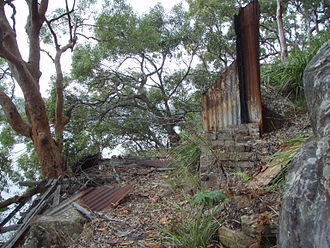 Spectacle Island (Hawkesbury River) - The remains of one of several old shacks on Spectacle Island in the Hawkesbury River, N.S.W. - 2009