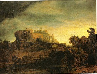<i>Landscape with a Castle</i> painting by Rembrandt