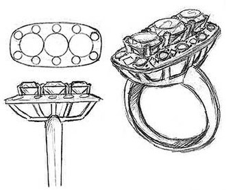 Jewellery design - Rendering of a jewellery design before going to the jeweller's bench