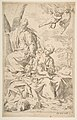 Rest on the flight into Egypt, Mary holding the infant Christ while St. Joseph hands him a fruit MET DP815025.jpg