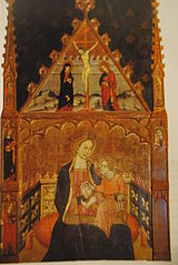 Altarpiece of Madonna with child and Crucifixion