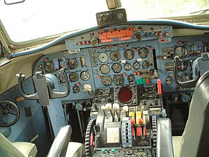 Nihon Aircraft Manufacturing Corporation - The cockpit of a YS-11, originally designed and built by Showa Aircraft