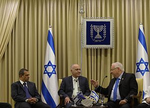 Yoram Cohen - Reuven Rivlin the president of Israel with Yoram Cohen the former director of the Shin Bet and Nadav Argaman the new director. May 2016