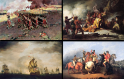 "Clockwise from top left: Battle of Bunker Hill, Death of Montgomery at Quebec, Battle of Cowpens, ""Moonlight Battle"""