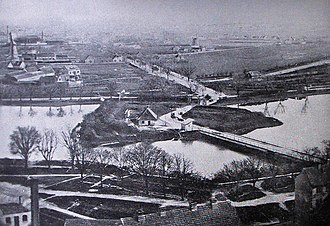 Christmas Møllers Plads - The site in 1865 with Røde Mølle as one of the only buildings