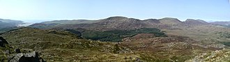 Rhinogydd - Panorama of the Rhinogau from the summit of Y Garn with the River Mawddach estuary at far left and Diffwys, Crib y Rhiw, Y Llethr, Rhinog Fach and Rhinog Fawr from left to right