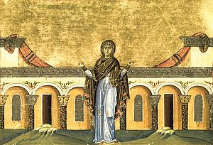 Syncletica of Alexandria - Painting depicting Syncletica of Alexandria, from the Menologion of Basil II (c. 1000 AD)