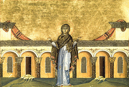 Syncletica of Alexandria from the Menologion of Basil II Righteous Syncletica of Alexandria (Menologion of Basil II).jpg