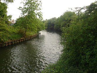 River Lee Flood Relief Channel -  The channel below the B194 road bridge at Nazeing