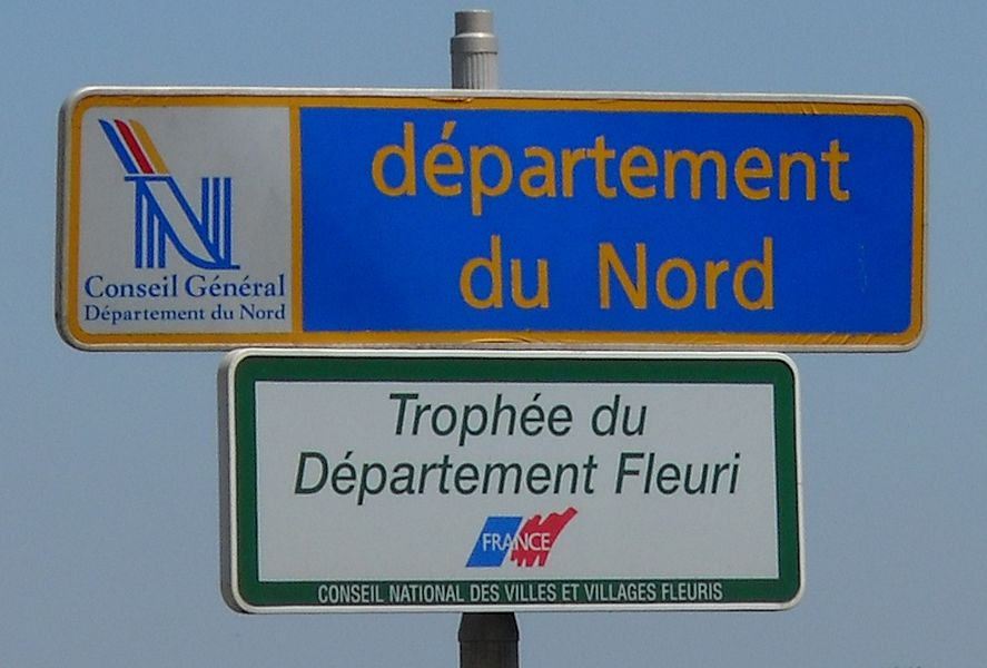 A road sign at the entrance of the Nord department on road D925, in Camphin-en-Carembault, Nord, France.