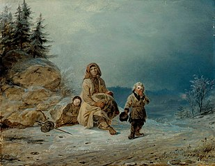 Beggar Family on the Road