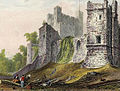 Rochester Castle engraved by J.LeKeux after a picture by W.H.Bartlett, 1828 edited.jpg