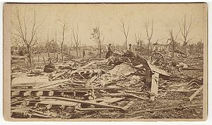 1883 Rochester tornado - Damage from the F5 tornado that struck Rochester, MN.