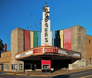 Movie theater - Rodgers Theatre in Poplar Bluff in Missouri. This Art Deco-style theater opened in 1949.