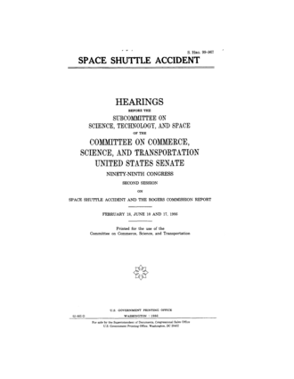 Rogers Commission Report - Front page of the Commission Report to Congress