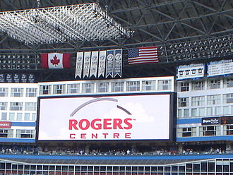 History of the Toronto Blue Jays - World Series banners above the Rogers Centre videoboard