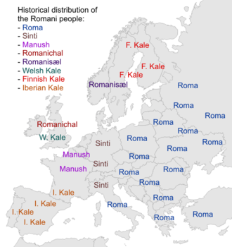 Names of the Romani people - Distribution of the Romani people in Europe based on self-designation.
