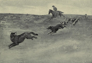 English: Sketch of Theodore Roosevelt chasing ...