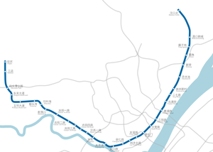 Line 1, Wuhan Metro - Image: Route Map of Line 1, Wuhan Metro