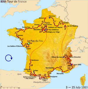 1993 Tour de France - Route of the 1993 Tour de France