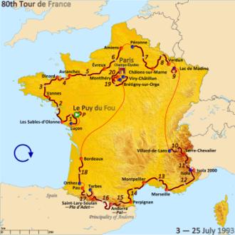 1993 Tour de France - Route of the 1993 Tour de France