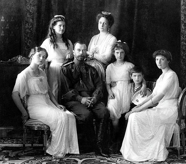 Emperor Nicholas II of Russia and his family were murdered by the Bolsheviks in 1918. Russian Imperial Family 1913.jpg