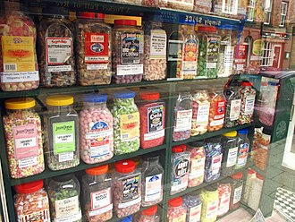 Butterscotch - Butterscotch sweets (top row second from left) sold in a shop in Rye, East Sussex, England
