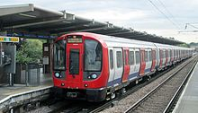 London Underground S7 Stock at West Ham station in July 2013.