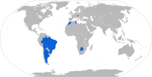 SK-105 Kürassier - Map of SK-105 operators in blue with former operators in red