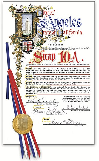 Atomics International - On May 20, 1965, the City of Los Angeles recognized Atomics International on the occasion of the successful SNAP-10A mission