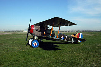 94th Fighter Squadron - SPAD XIII at the United States Air Force Museum shown in 94th Aero Squadron (Pursuit) markings.   Aircraft is marked as Eddie Rickenbacker's aircraft.