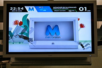 Société de transport de Montréal - A MétroVision screen at Place-des-Arts station.