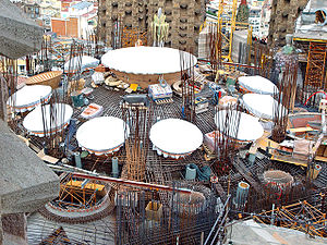Reinforced concrete - Rebars of Sagrada Família's roof in construction (2009)