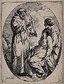 Saint Francis of Assisi, holding a crucifix before a sick or dying woman. Wellcome V0032036.jpg