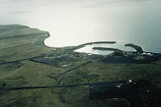 St. George, Alaska - Aerial view of St. George harbor