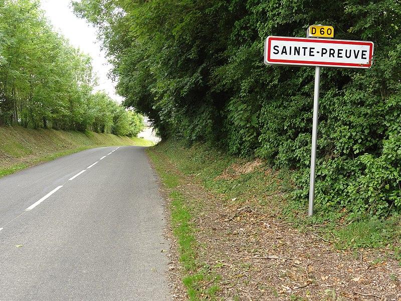Sainte-Preuve (Aisne) city limit sign