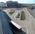 Salem station busway from garage roof, January 2016.jpg