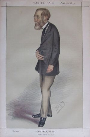 "Samuel Laing (science writer) - The infant Samuel"" Laing as caricatured by Spy (Leslie Ward) in Vanity Fair, August 1873"