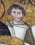 San vitale, ravenna, int., presbiterio, mosaici di giustiniano e la sua corte 04belisario o giuliano l'argentario.jpg