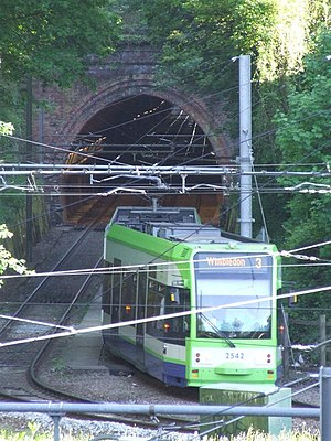 2016 Croydon tram derailment - The site of the derailment, in 2010. The tram is running towards the camera and entering the sharp curve on which the derailment occurred.