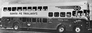 Trailways Transportation System - A Santa Fe bus used to transport workers to defense plants during World War II