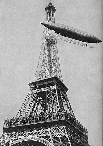 1901 in aviation - Santos-Dumont at the Eiffel Tower.
