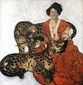 Sarah Stilwell Weber, Woman with Leopards, Collier's, March 17, 1906, cover.JPG